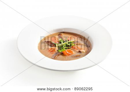 Japanese Cuisine - Miso Soup with Salmon and Mushrooms
