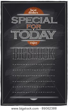 Special for today chalkboard menu list with place for text.