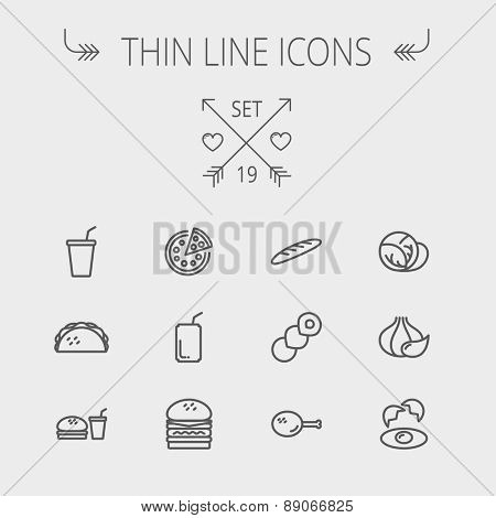 Food and drink thin line icon set for web and mobile. Set includes- onion, egg, chicken, meal set, soda, burger, taco icons. Modern minimalistic flat design. Vector dark grey icon on light grey