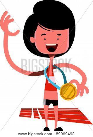 Winning the olimpic gold vector illustration cartoon character