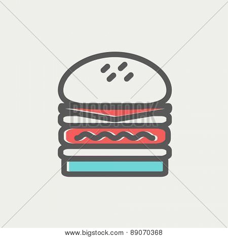 Double burger icon thin line for web and mobile, modern minimalistic flat design. Vector icon with dark grey outline and offset colour on light grey background. poster