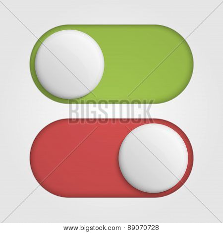 On Off 3D Switches Sliders With Red And Green Color. Vector Illustration