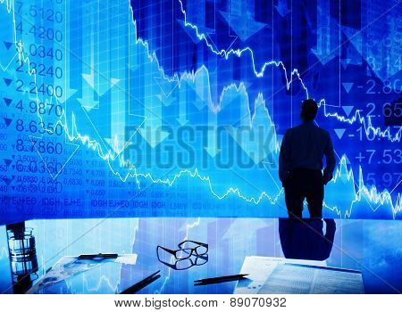 Businessman Stock Market Crisis Crash Finance Concept