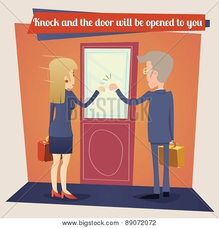 Businesswoman and Businessman with Briefcase Knocking at Customer Door Business Concept Template on