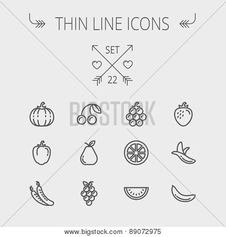 Food and drink thin line icon set for web and mobile. Set includes- banana, watermelon, cherry, squash, grapes, lanzones, peas, pear icons. Modern minimalistic flat design. Vector dark grey icon on