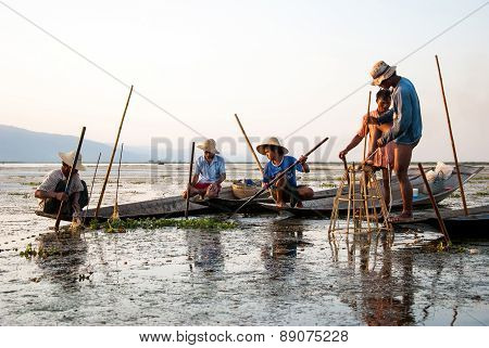 Fishermen Catch The Fishes In Inle Lake