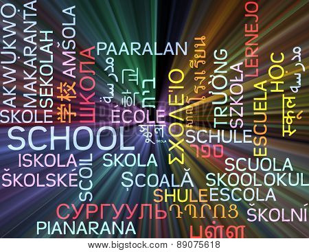 Background concept wordcloud multilanguage international many language illustration of school glowing light