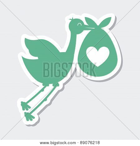 Stork icon with baby on white background vector illustration