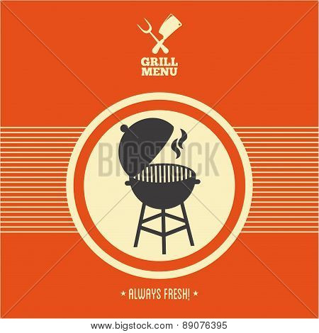 Grill menu barbecue on orange background vector illustration