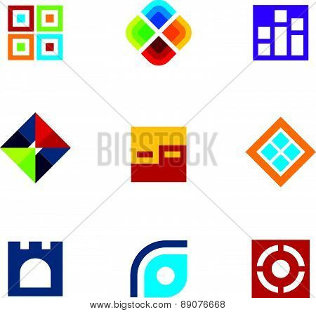 Colorful startup innovation idea icon set business abstract logo vector