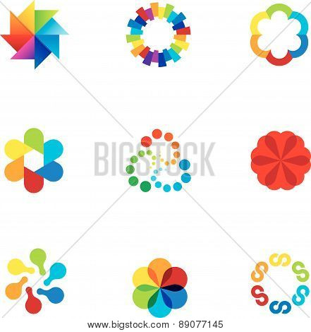 Abstract social partnership community company bond colorful app logo icons
