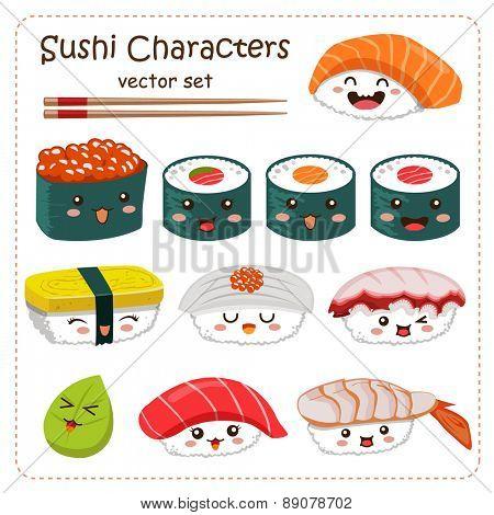 Sushi Cartoon Character Vector Set