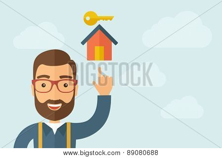 A Man pointing the house with key icon. A contemporary style with pastel palette, light blue cloudy sky background. Vector flat design illustration. Horizontal layout with text space on right part.