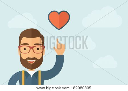 A Man pointing the heart icon. A contemporary style with pastel palette, light blue cloudy sky background. Vector flat design illustration. Horizontal layout with text space on right part.