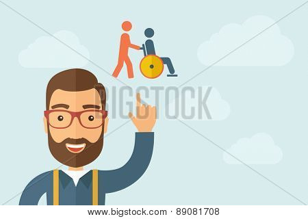 A Man pointing the man pointing pushin a friend in a wheelchair icon. A contemporary style with pastel palette, light blue cloudy sky background. Vector flat design illustration. Horizontal layout
