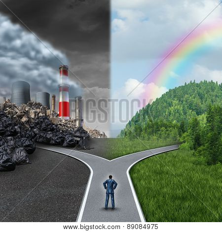 Climate choice concept as a person standing at a cross road junction between an unhealthy scene with grey polluted dirty and contaminated air contrasted with a green healthy horizon of plants and clean air as a metaphor for global ecology. poster