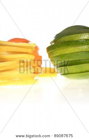 Closeup of sliced lemons on whote background