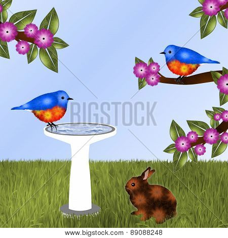 Pair of Bluebirds and a Bunny Background