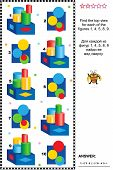 Educational visual math puzzle or picture riddle: Find the top view for every construction. Answer included. poster