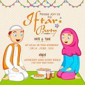 Holy month of Muslim community Ramadan Kareem celebration invitation card with Islamic couple enjoying Iftar Party. poster