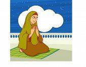 Islamic month of prayer, Ramadan Kareem celebration with young Muslim lady offering Namaz (Islamic Prayer) in night. poster