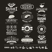 Vector Sushi logotypes set. Sushi vintage design elements, logos, badges, label, icons and objects poster