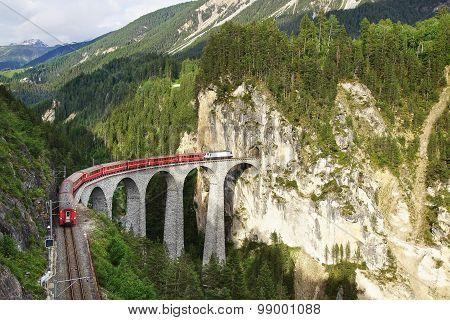 Landwasser Viaduct With Train, Filisur, Switzerland