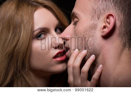 Provocative Woman Seducing A Man