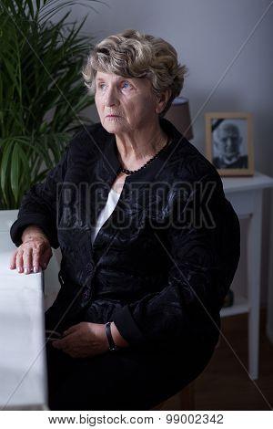 Senior Woman In Black Clothes
