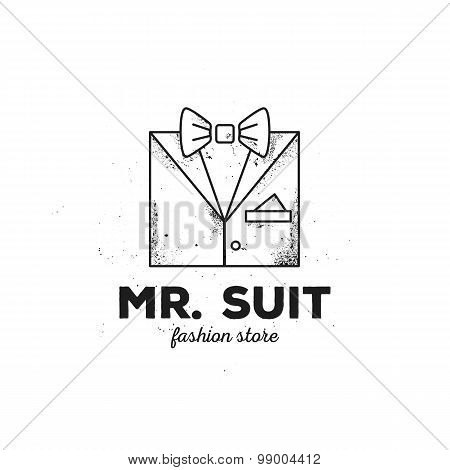 Vector outline man suit logo with old style grunge effect. Hipster clothes logotype.