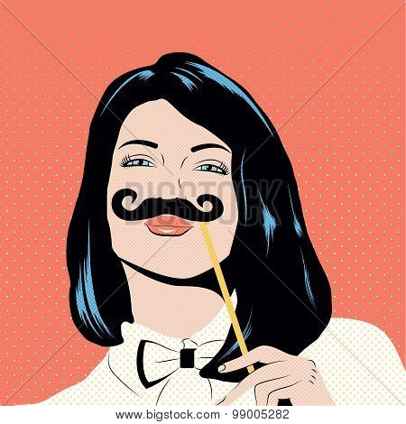 Pop Art Illustration With Girl Holding Mustache Mask.