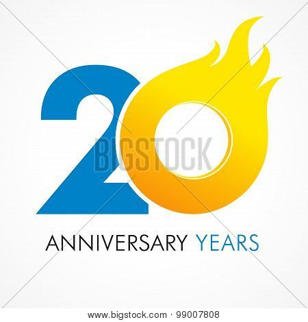 20 years old celebrating fiery logo. Anniversary year of 20 th vector template flamy 0 numbers. Happy birthday flaming greetings celebrates. Hot digits of jubilee gold colored ages with flames.