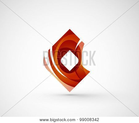 Abstract geometric company logo square, rhomb.  illustration of universal shape concept made of various wave overlapping elements poster