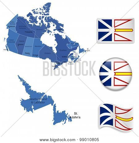 Canada-Newfoundland-Map and Flag Collection