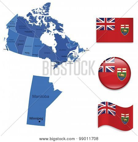 Canada-Manitoba-Map and Flag Collection