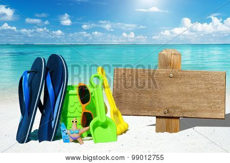 Wooden Signboard And Beach Toys