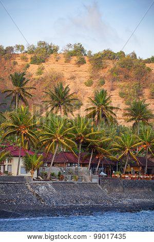 Seawall Protecting Candidasa Town On The Island Of Bali, Indonesia