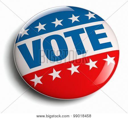 Vote USA election campaign round badge button. poster