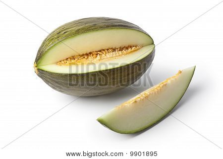Piel de sapo melon and a slice