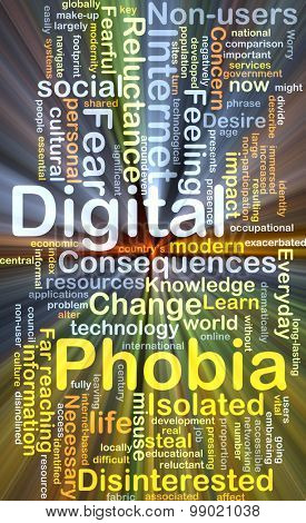 Background concept wordcloud illustration of digital phobia glowing light