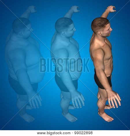 Concept or conceptual 3D fat overweight vs slim fit diet with muscles young man blue gradient background poster