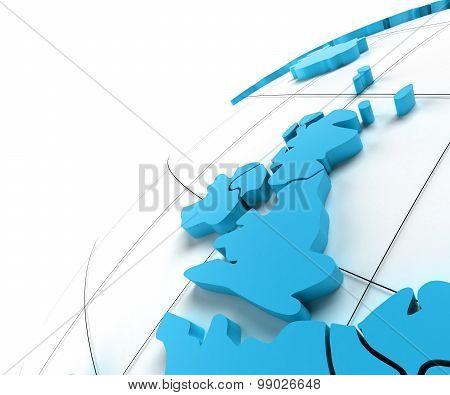 Globe of UK with national borders