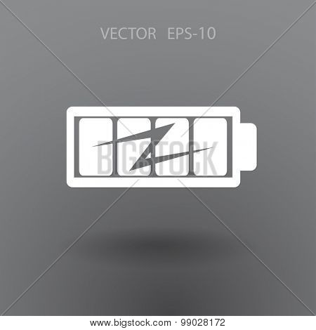 Flat full  battery charged  icon poster