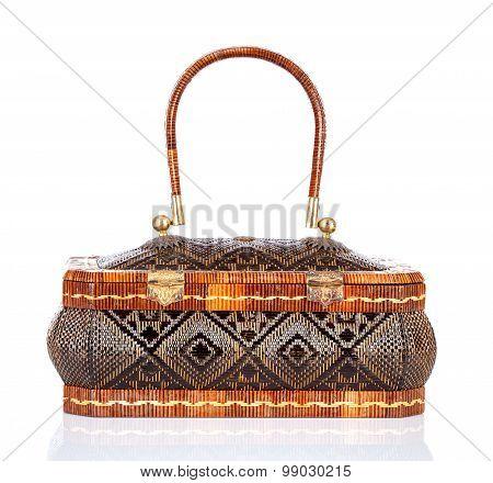 Thai handicraft elegance woman basketry on white background Yan lipao basketry