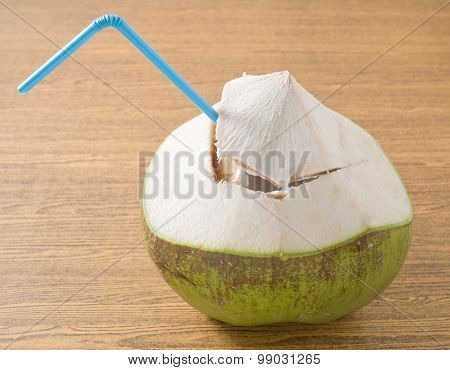 Fresh And Sweet Coconut Water On A Table