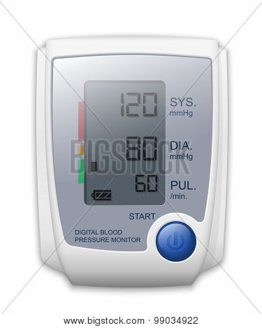 Digital Blood Pressure Monitor Front View, Vector Illustration