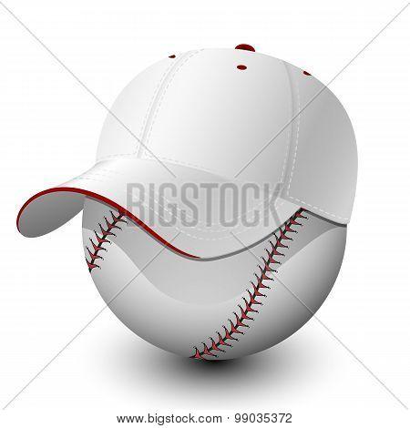 Baseball Cap On Baseball. Vector Illustration