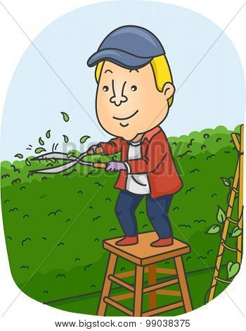 Illustration of a Man Trimming the Hedge on His Garden