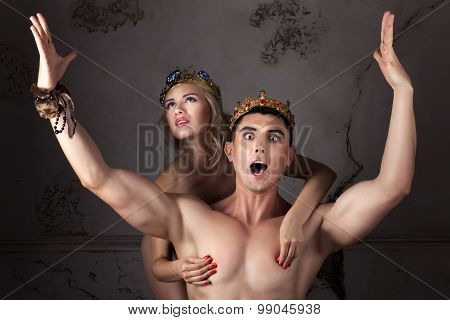 Guy With The Crown On Head Sings His Arms.