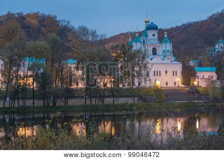 Orthodox church in Svyatogorsk, Donetsk Region, Ukraine, autumn landscape poster